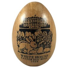 1998 White House Easter Egg Roll Wooden Egg Bill and Hillary Clinton