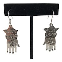 Hand Made Hand Stamped Sterling Silver Hand Earrings Southwest Style