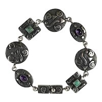 Unusual Sterling Silver Artisan Bracelet with Turquoise and Amethyst Cabochons