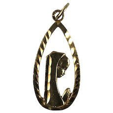 14K Gold Etched Madonna Tear Drop Shaped Pendant