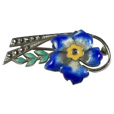 Colorful Sterling Silver and Enamel Floral Pin with Marcasites