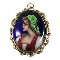 14K Gold and Enamel Portrait Pin Pendant from France