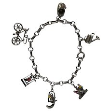 Vintage Sterling Silver Charm Bracelet with 6 Movable Charms