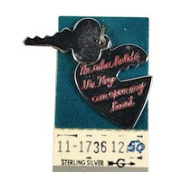 Sterling Silver Key and Heart Charm on Original Card
