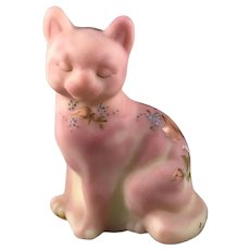 Fenton Burmese Glass Love Bouquet Cat Mary Walrath