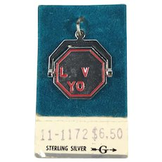 Sterling Silver I Love You Spinner Charm New Old Stock