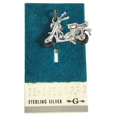 New Old Stock 3D Sterling Silver Motorcycle Charm