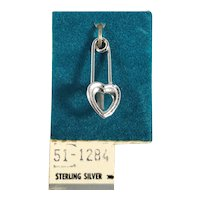 Sterling Silver Heart Safety Pin Charm on Original Card