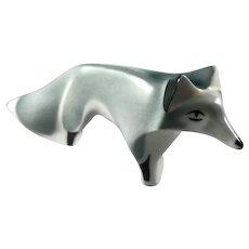 Rare Sargadelos Spanish Porcelain Abstract Gray Fox