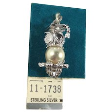 New Old Stock Sterling Silver 3D Owl Graduation Charm