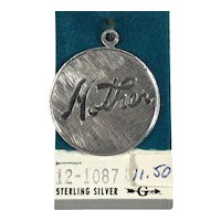 New Old Stock Sterling Silver Disc Charm Mother
