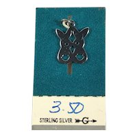 New Old Stock Sterling Silver Kissing Bunnies Charm