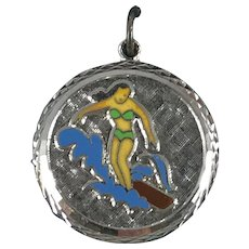 Sterling Silver and Enamel Female Surfer Disc Charm