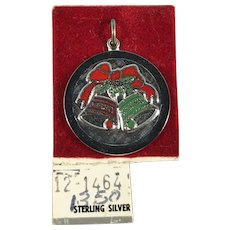 Sterling Silver and Enamel Christmas Bells Disc Charm