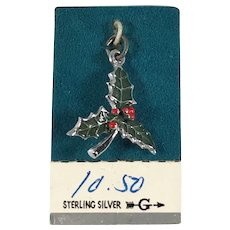 Sterling Silver and Enamel Christmas Holly Charm