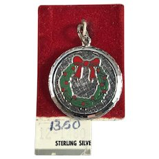Sterling Silver and Enamel Christmas Wreath Charm