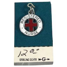 Sterling Silver and Enamel Registered Nurse Charm