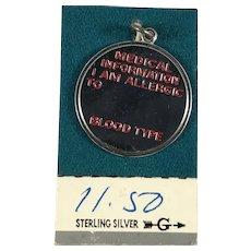 Sterling Silver Medical Alert Allergy Disc Charm