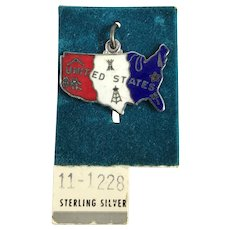 Sterling Silver and Enamel United States Map Charm