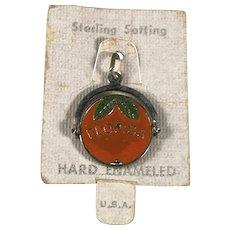 Sterling Silver and Enamel Florida Orange Spinner Charm