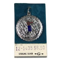 New Old Stock Sterling Silver and Enamel Woman Golfer Charm