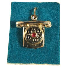 New Old Stock 3D Telephone Charm - I Love You