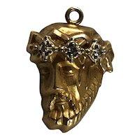 14K Gold and Diamond Pendant Jesus Christ Crown of Thorns