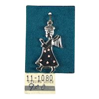 New Old Stock Sterling Silver Angel Charm with  Pink Stars