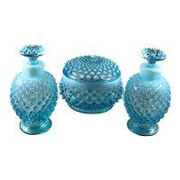 Fenton Blue Opalescent Hobnail Perfume and Powder Set