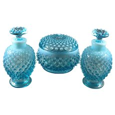 Fenton Blue Opalescent Hobnail Perfume and Powder Set