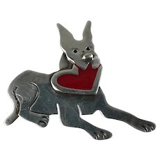 Sterling Silver Dog Pin with Red Enamel Heart