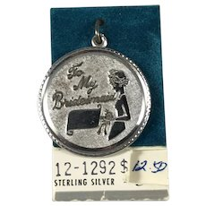 Sterling Silver Large Bridesmaid Disc Charm
