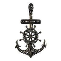 Sterling Silver and Marcasite Anchor and Ships Wheel Pendant