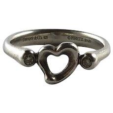 Tiffany Sterling Silver Elsa Peretti Diamond and Heart Ring 9 1/2