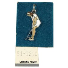 New Old Stock Sterling Silver and Enamel Lady Golfer Charm