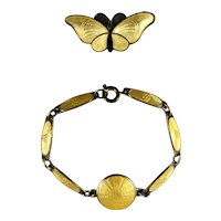 Sterling Silver and Guilloche Enamel Yellow Child's Bracelet and Butterfly PIn