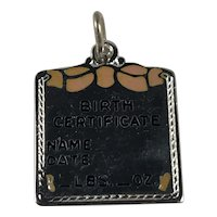 Sterling Silver Birth Certificate Charm with Pink Enamel