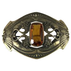 Large Art Nouveau Brooch with Topaz Glass Center and C Clasp