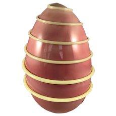 Handcrafted Burmese Glass Egg with Custard Glass Threading
