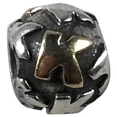 Retired Pandora Sterling and 14K Gold Alphabet Letter Initial K Charm