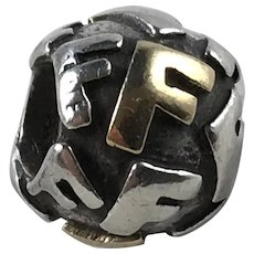 Retired Pandora Sterling and 14K Gold Alphabet Letter Initial F Charm