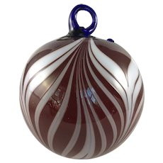 Fenton Art Glass Dave Fetty Signed Pulled Feather Glass Ball Ornament