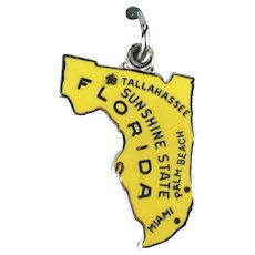 Sterling Silver and Enamel New Old Stock Florida State Charm