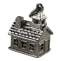 Wells Sterling Silver 3D Schoolhouse Charm
