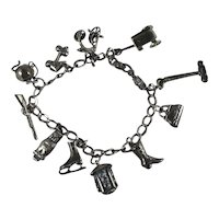Sterling Silver Charm Bracelet with 11 3D or Double Sided Charms