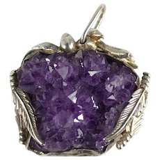 Southwest Amethyst Crystal Pendant Handmade