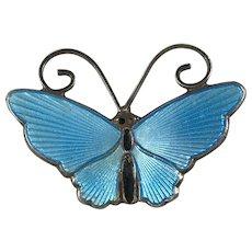 David Andersen Norway Sterling Silver and Blue Enamel Butterfly Pin