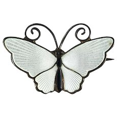 David Andersen Norway Sterling Silver and White Enamel Butterfly Pin