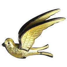 Sterling Silver and Yellow Enamel Bernard Meldahl Bird PIn Norway