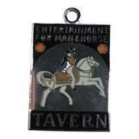 Sterling Silver and Enamel Entertainment for Man and Horse Tavern Charm